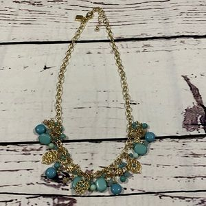 Chaps gold tone and teal necklace GUC